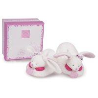 Chaussons bébé avec hochet 6 - 12 mois cerise