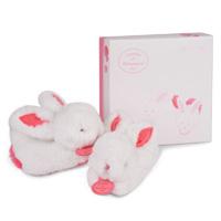Chaussons avec hochet lapin pompon fraise 0-6 mois