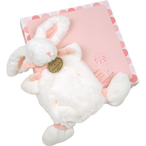 Doudou lapin bonbon rose