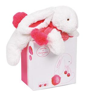 Peluche bébé lapin pompon 25cm fraise