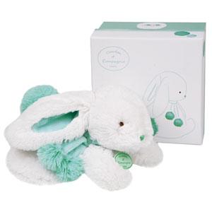 Peluche bébé lapin pompon 25cm amande