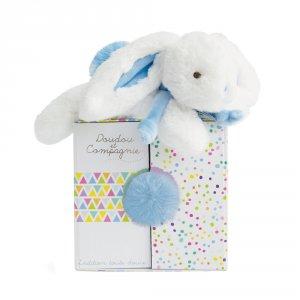 Peluche bébé coucou doudou lapin 20 cm bleu pastel