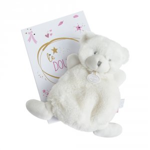 Doudou ours boite led rose