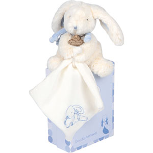 Peluche bébé pantin avec doudou lapin bonbon bleu