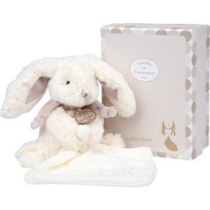 Peluche bébé pantin avec doudou lapin bonbon taupe