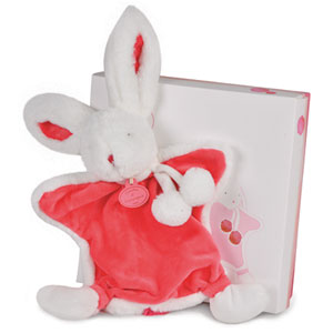 Doudou lapin pompon fraise