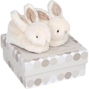 Chaussons bébé lapin bonbon taupe