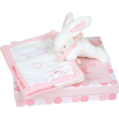 Lapin bonbon protège carnet de santé + lapin rose Doudou et compagnie