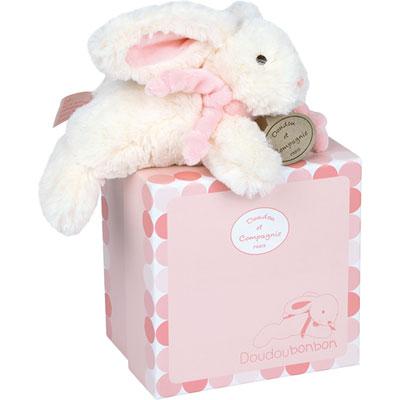 Peluche bébé lapin bonbon 20 cm rose Doudou et compagnie