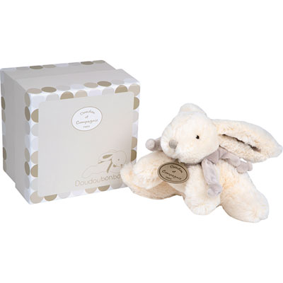Peluche bébé lapin bonbon 20 cm taupe Doudou et compagnie