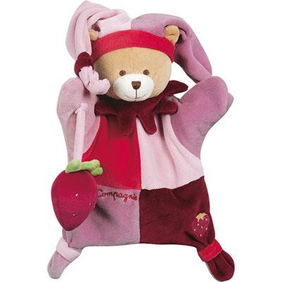 Jouet d'éveil bébé marionnette ours avec fraise Doudou et compagnie