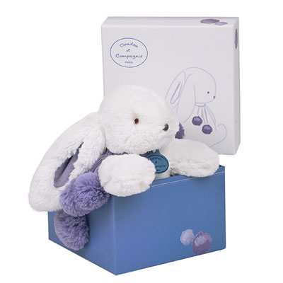 Peluche bébé lapin pompon 25 cm lavande Doudou et compagnie