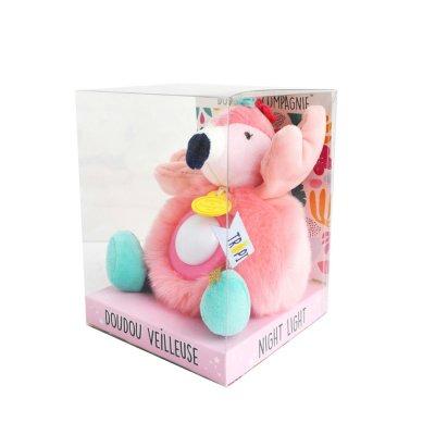 Peluche bébé veilleuse flamant rose Doudou et compagnie
