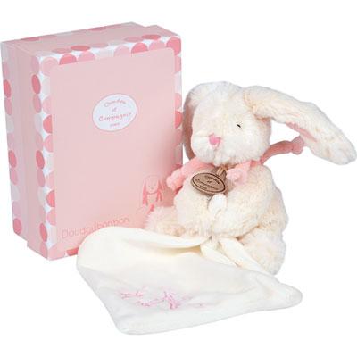 Peluche bébé pantin avec doudou lapin bonbon rose Doudou et compagnie