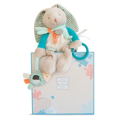 Peluche bébé pantin d'activités lapin happy Doudou et compagnie