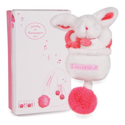Boite à musique lapin pompon fraise Doudou et compagnie