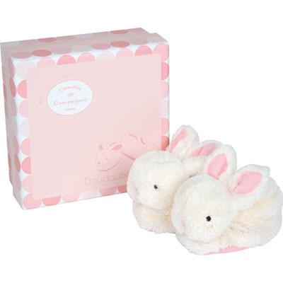 Coffret chaussons rose lapin bonbon Doudou et compagnie