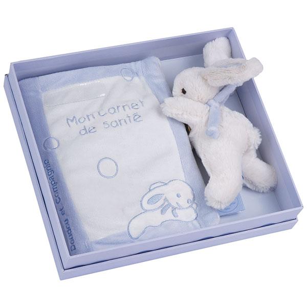 Lapin bonbon protège carnet de santé + lapin bleu Doudou et compagnie