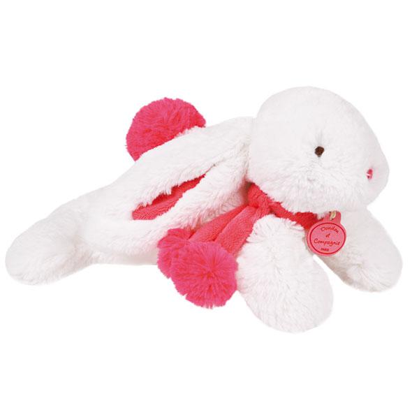 Peluche bébé lapin pompon 25 cm fraise Doudou et compagnie