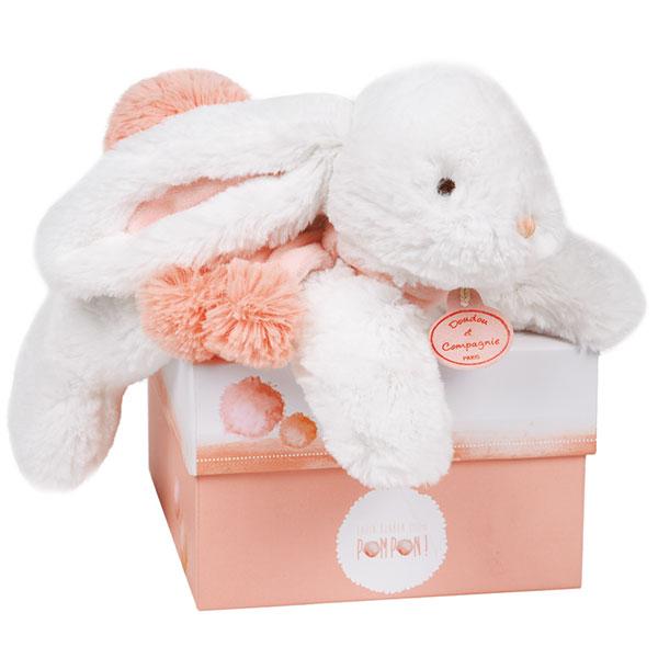 Peluche bébé lapin pompon 25 cm corail Doudou et compagnie