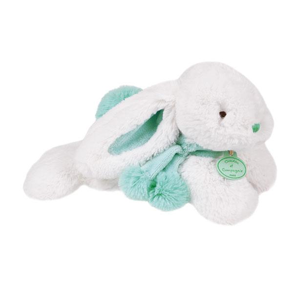 Peluche bébé lapin pompon 25 cm amande Doudou et compagnie