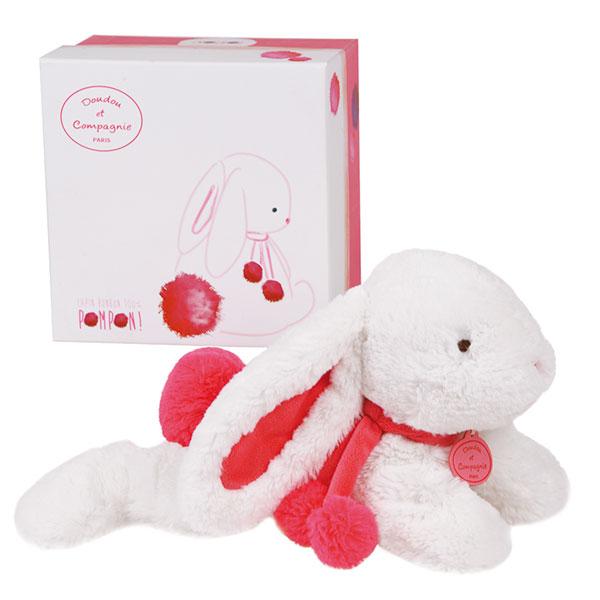 Peluche bébé lapin pompon 35 cm fraise Doudou et compagnie