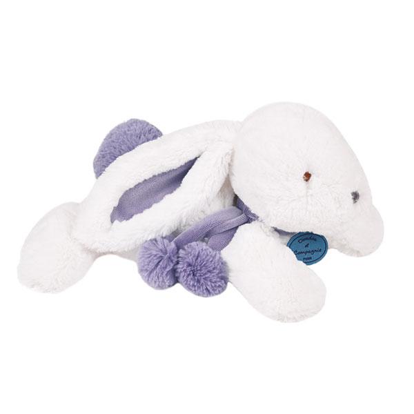 Peluche bébé lapin pompon 35 cm lavande Doudou et compagnie
