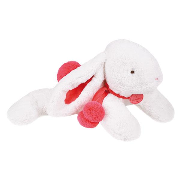 Peluche bébé lapin pompon 50 cm fraise Doudou et compagnie