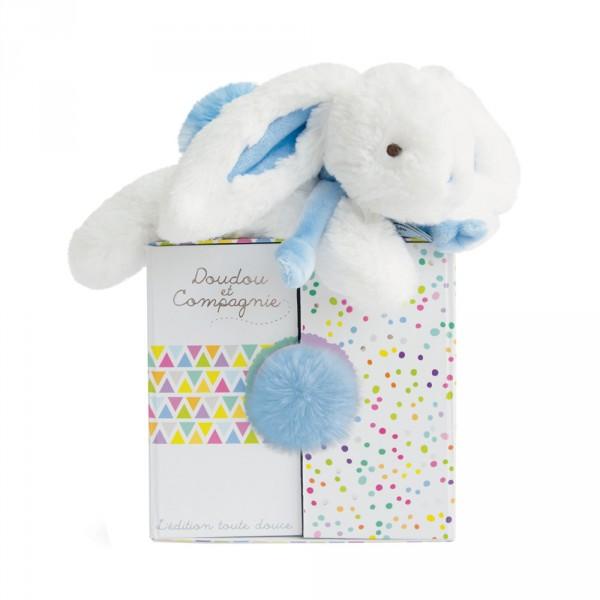 Peluche bébé coucou doudou lapin 20 cm bleu pastel Doudou et compagnie