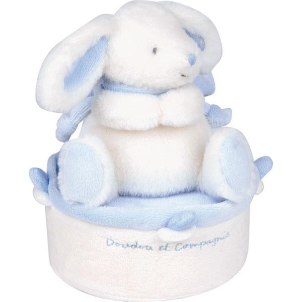 Boite à musique tournante lapin bonbon bleu Doudou et compagnie