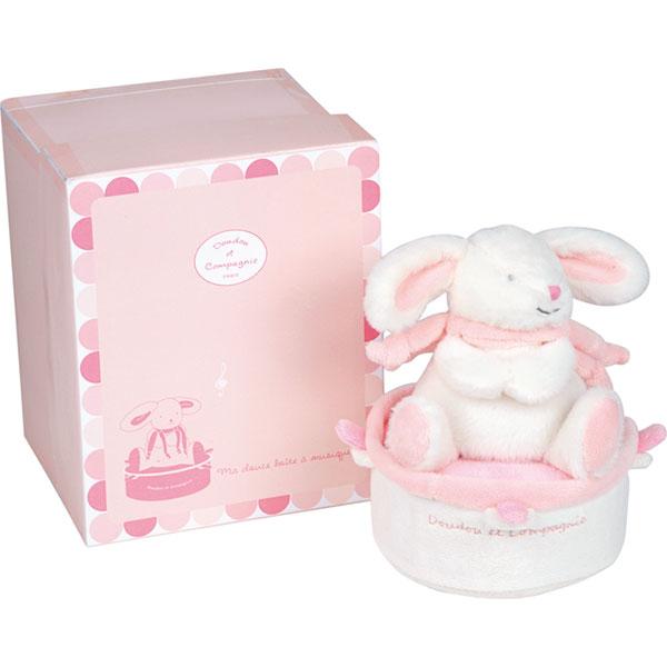 Boite à musique tournante lapin bonbon rose Doudou et compagnie