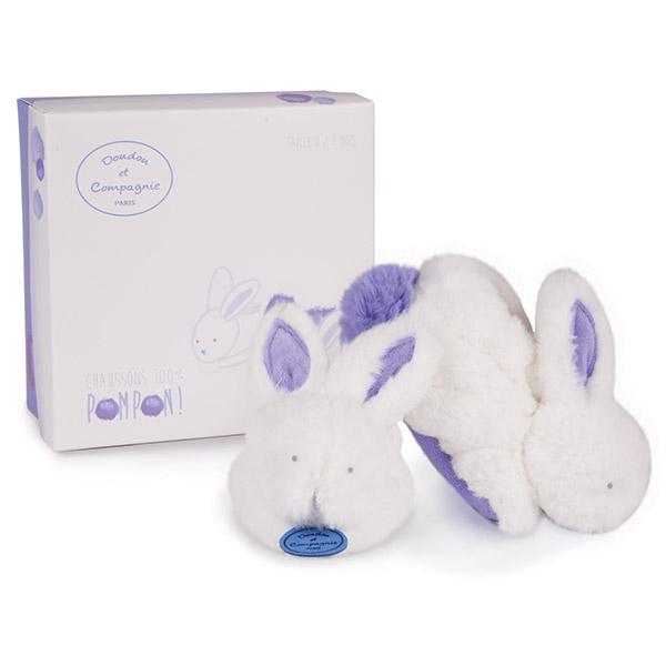 Chaussons avec hochet lapin pompon lavande 0-6 mois Doudou et compagnie