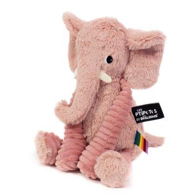 Peluche bébé éléphant rose les ptipotos Les deglingos
