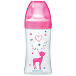 Biberon sans bpa sensation+ fushia love 270ml