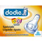 Tétines 2ème âge silicone spéciale liquide épais de Dodie