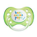 Sucette bébé silicone avec anneau 0-6 mois beau comme papa vert