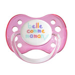Sucette bébé silicone avec anneau 0-6 mois belle comme maman rose
