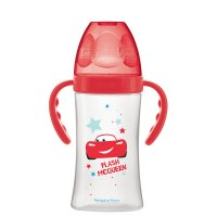 Biberon sans bpa initiation+ avec anses cars rouge 270ml