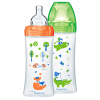 Lot de 2 biberons sans bpa sensation+ orange et vert 330ml