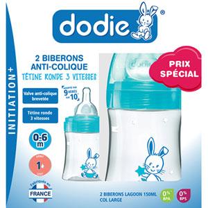 Dodie Coffret de 2 biberons initiation+ 150ml bleu et laggon