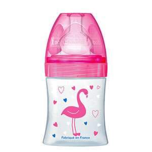Biberon sans bpa sensation+ rose flamant 150ml