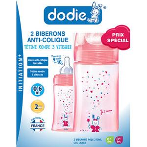 Dodie Coffret de 2 biberons sans bpa initiation+ fille 270 ml