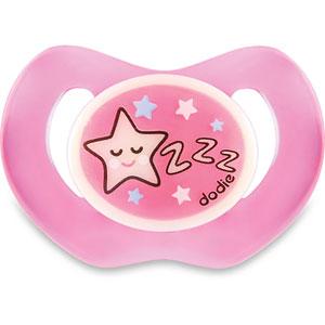 Sucette bébé silicone nuit 6 mois et plus étoile rose