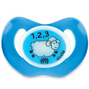 Sucette bébé silicone nuit 18 mois et plus mouton