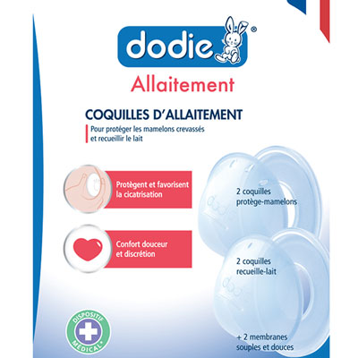 Coquilles d'allaitement protège mamelons x 4 Dodie