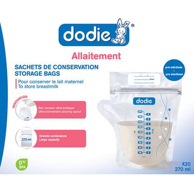 Lot de 20 sachets de conservation pour lait maternel Dodie