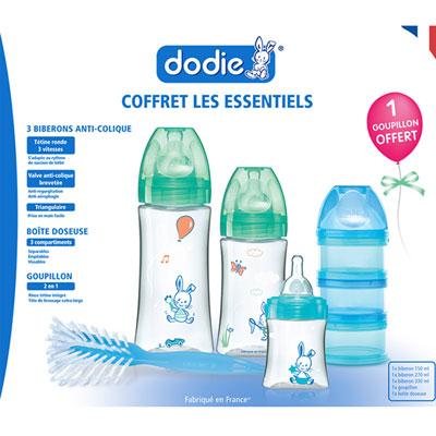 Coffret essentiel 3 biberons initiation+ +1goupillon +1 boîte doseuse Dodie
