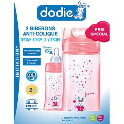 Coffret de 2 biberons sans bpa initiation+ fille 270 ml Dodie