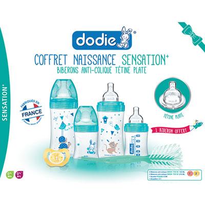 Coffret naissance 4 biberons sensation+ +1goupillon +1sucette lagoon Dodie
