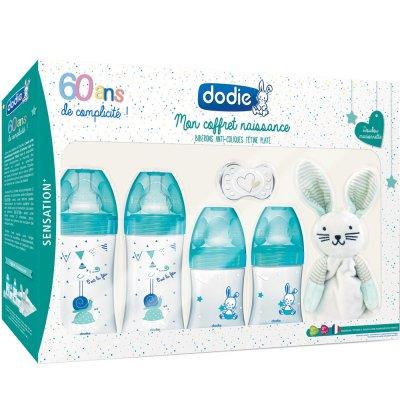 Coffret naissance 60ans sensation 4 biberons sensation + 1 goupillon + 1 sucette + 1 doudou Dodie